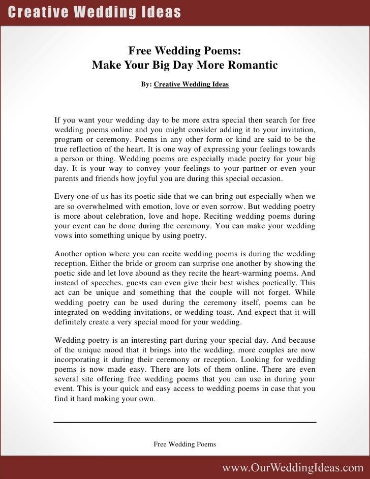 Free Wedding Poems
