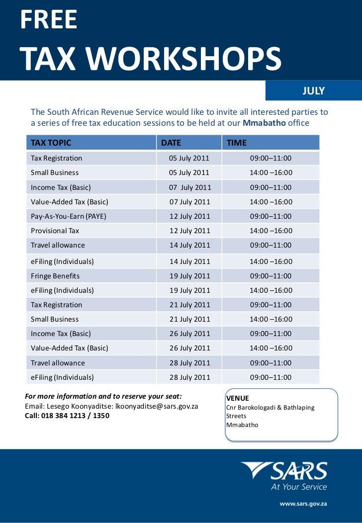 FREETAX WORKSHOPS                                                                                  JULY The South African ...