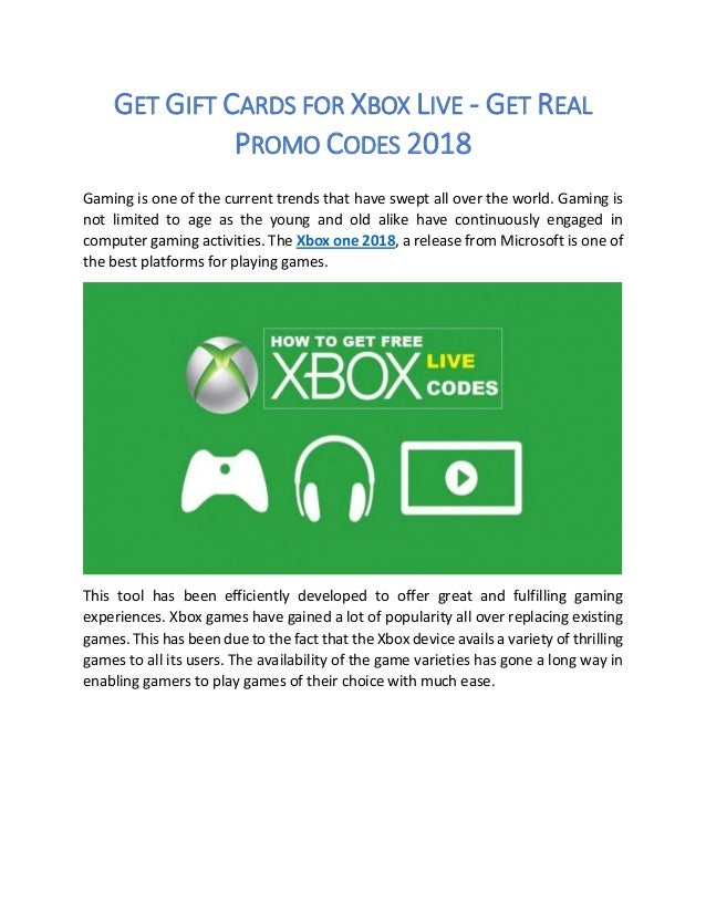 Get Gift Cards for Xbox Live - Get Real Promo Codes 2018