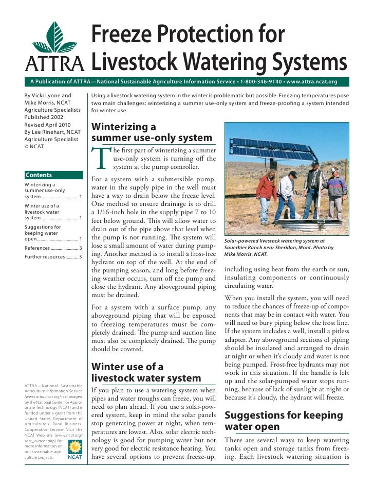 Freeze Protection for                                              Livestock Watering Systems    A Publication of ATTRA—Na...