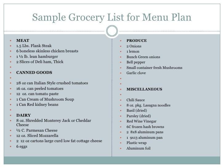 Doc600664 Sample Grocery List Sample Grocery List Template 9 – Sample Grocery List