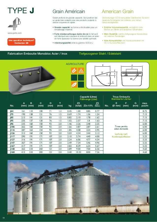TYPE J  www.go4b.com  Grain Américain American Grain  Godet profond de grande capacité. Son profil en fait  un godet bien ...