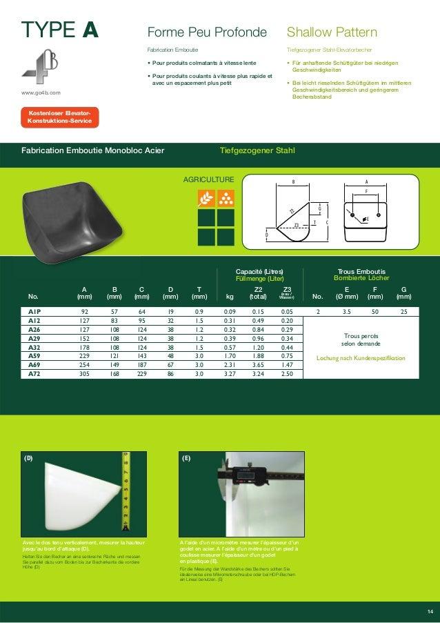 TYPE A  Forme Peu Profonde  AGRICULTURE  www.go4b.com  Fabrication Emboutie  • Pour produits colmatants à vitesse lente  •...