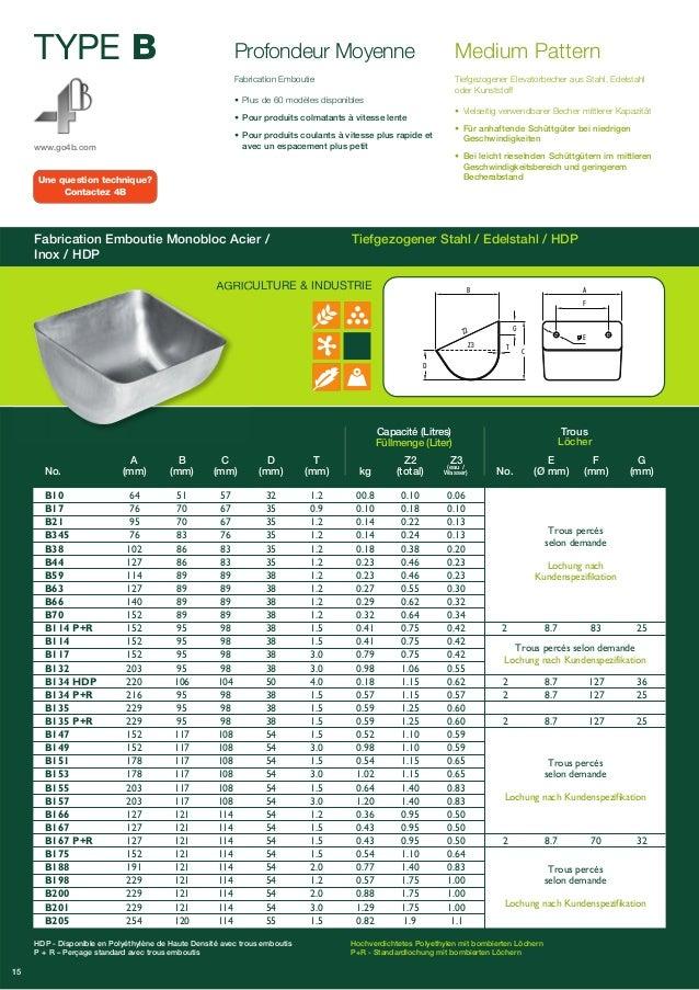 TYPE B  www.go4b.com  Profondeur Moyenne  Fabrication Emboutie  • Plus de 60 modèles disponibles  • Pour produits colmatan...