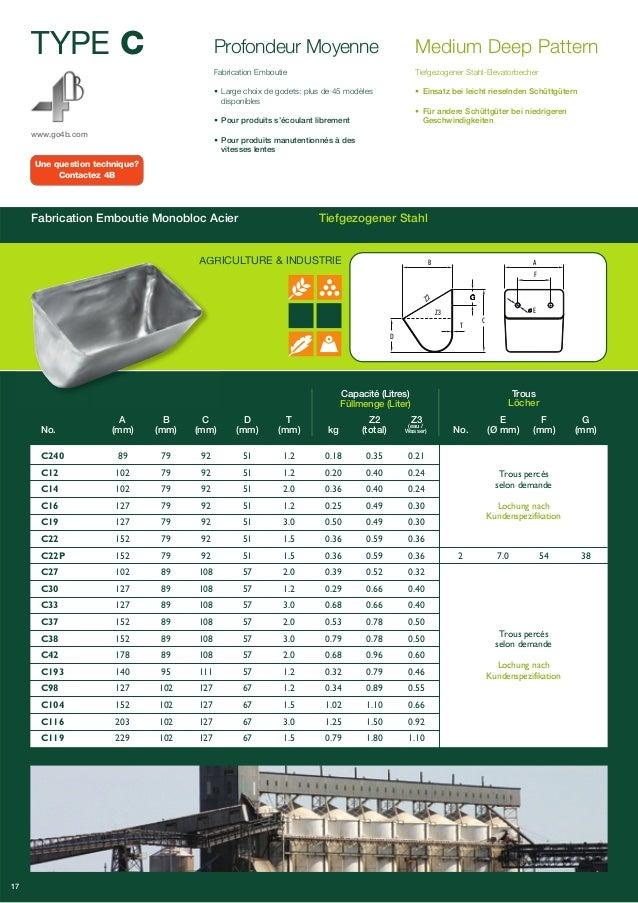 TYPE C  www.go4b.com  Profondeur Moyenne  • Large choix de godets: plus de 45 modèles  disponibles  • Pour produits s'écou...