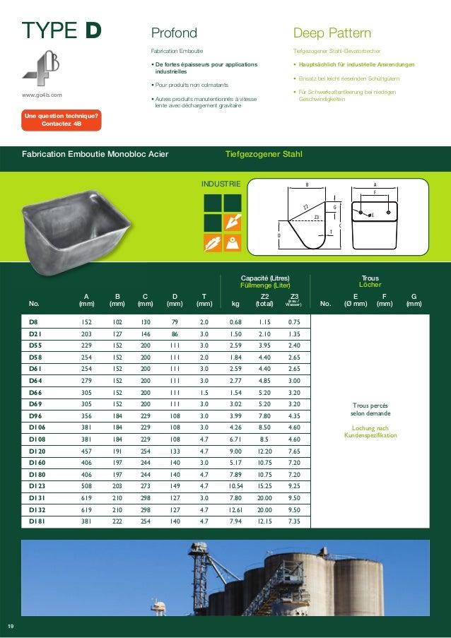 TYPE D  www.go4b.com  Fabrication Emboutie Monobloc Acier Tiefgezogener Stahl  Capacité (Litres)  Füllmenge (Liter)  Trous...