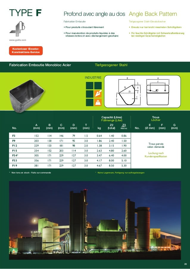 TYPE F  www.go4b.com  Profond avec angle au dos  Fabrication Emboutie  • Pour produits s'écoulant librement  • Pour manute...