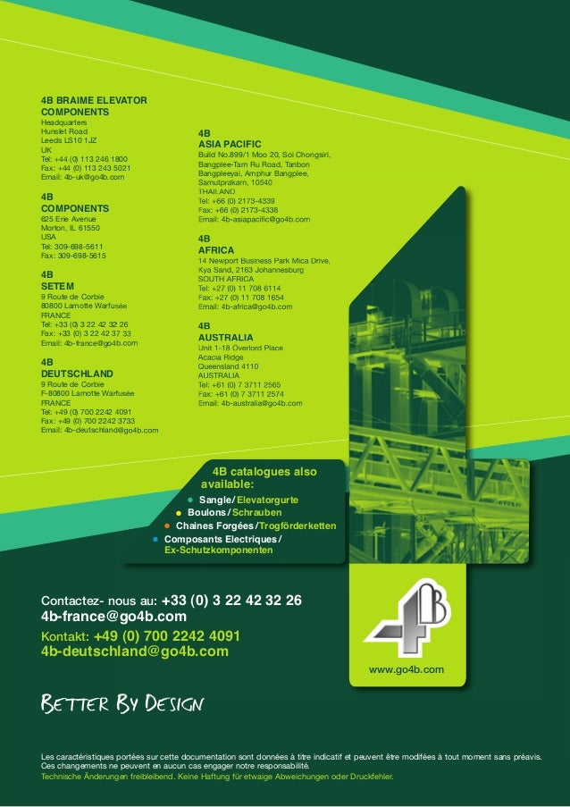4B BRAIME ELEVATOR  COMPONENTS  Headquarters  Hunslet Road  Leeds LS10 1JZ  UK  Tel: +44 (0) 113 246 1800  Fax: +44 (0) 11...