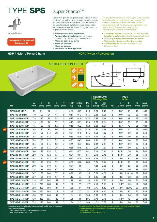 Une question technique?  Contactez 4B  A B C D T HDP Nylon PU Z2 Z3 E F G Max.  (eau /  Wasser)  4  TYPE SPS  www.go4b.com...