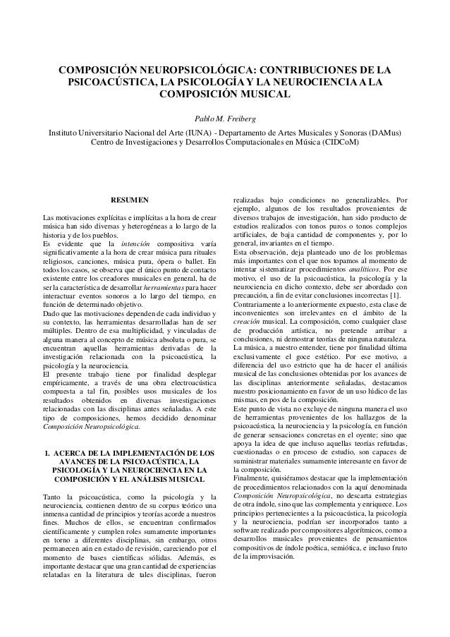 COMPOSICIÓN NEUROPSICOLÓGICA: CONTRIBUCIONES DE LA PSICOACÚSTICA, LA PSICOLOGÍA Y LA NEUROCIENCIA A LA COMPOSICIÓN MUSICAL...