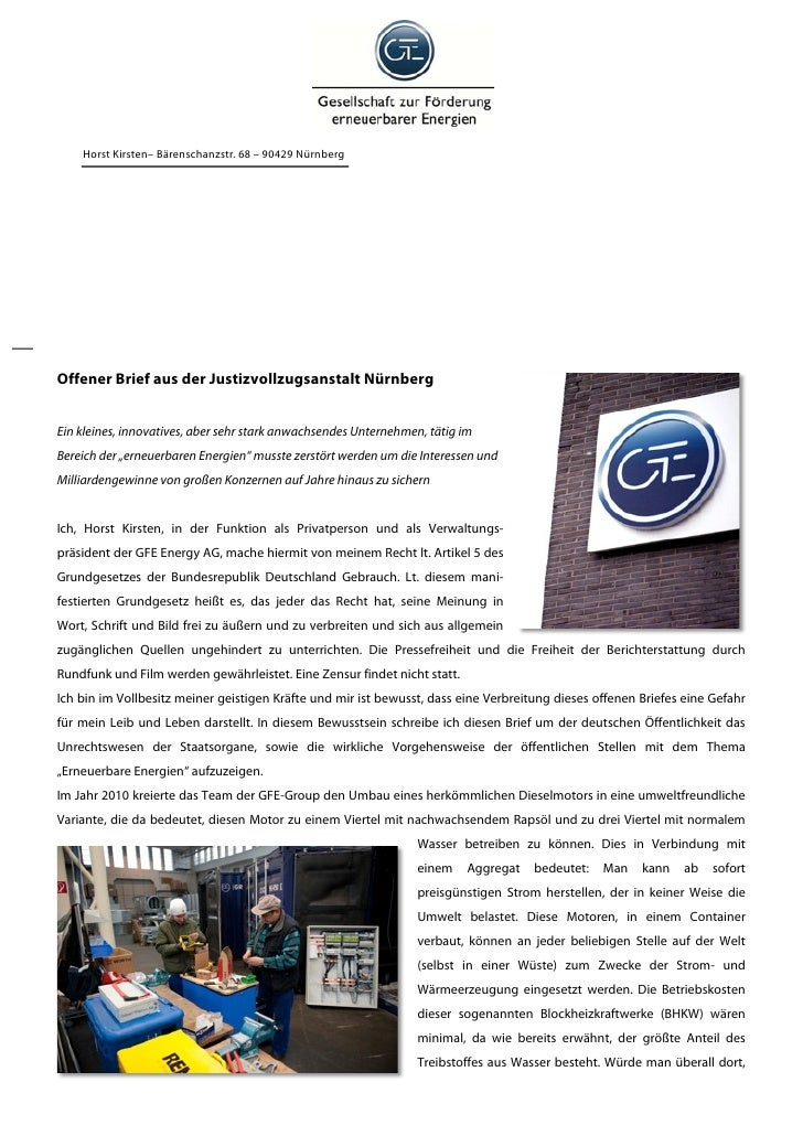Horst Kirsten– Bärenschanzstr. 68 – 90429 NürnbergOffener Brief aus der Justizvollzugsanstalt NürnbergEin kleines, innovat...