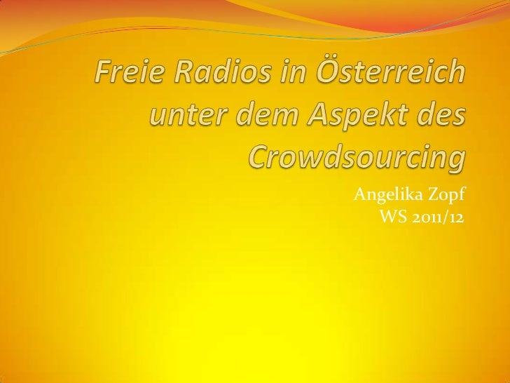 Angelika Zopf  WS 2011/12