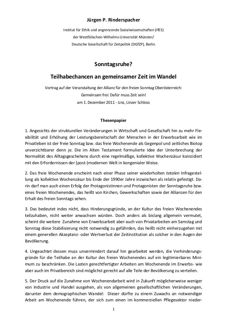 Jürgen P. Rinderspacher                    Institut für Ethik und angrenzende Sozialwissenschaften (IfES)                 ...