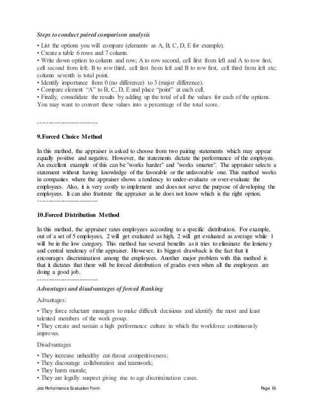 16. Job Performance Evaluation Form ...
