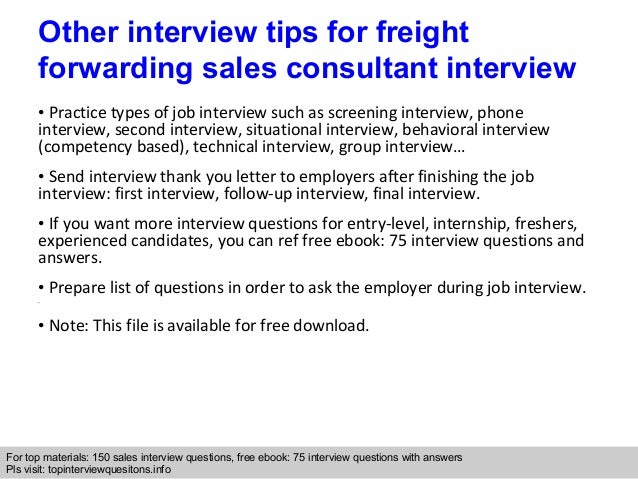 Freight forwarding sales consultant interview questions ...