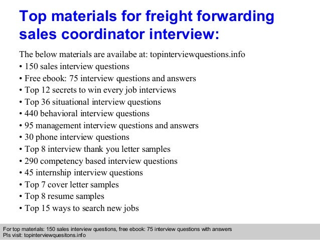 Freight forwarding sales coordinator interview questions and