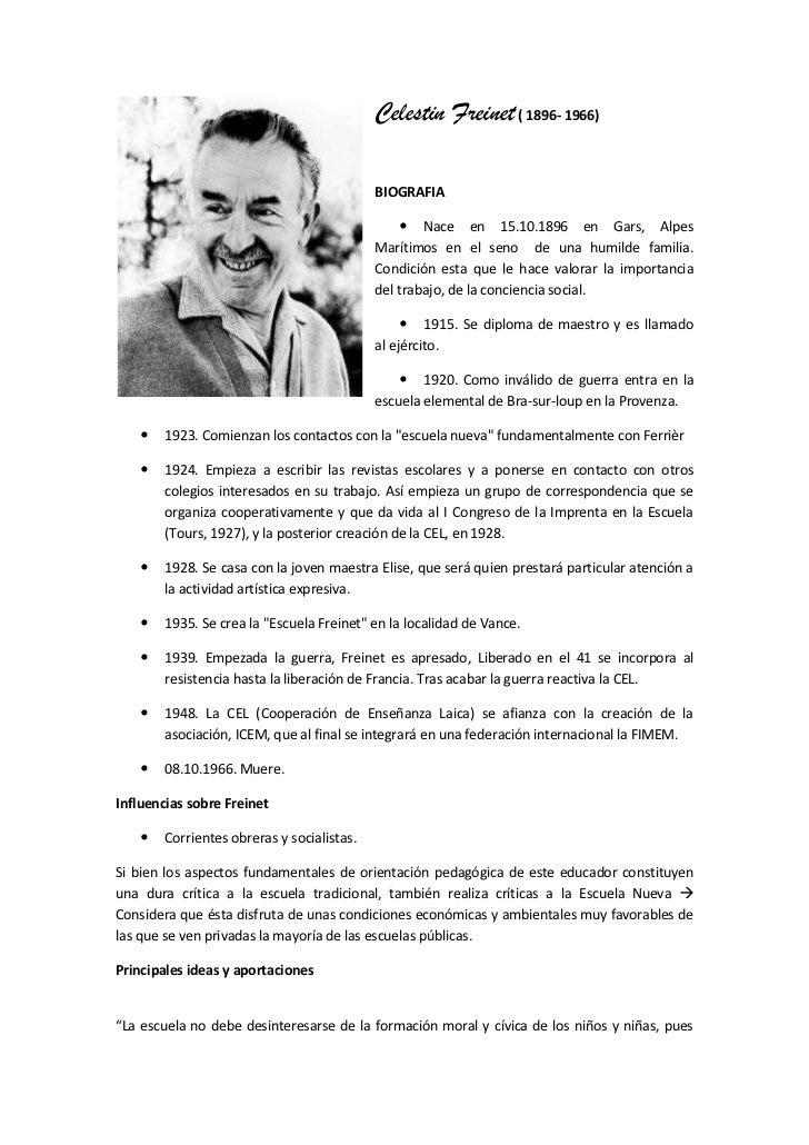 lefttopCelestin Freinet ( 1896- 1966)<br />BIOGRAFIA <br />Nace en 15.10.1896 en Gars, Alpes Marítimos en el seno  de una ...