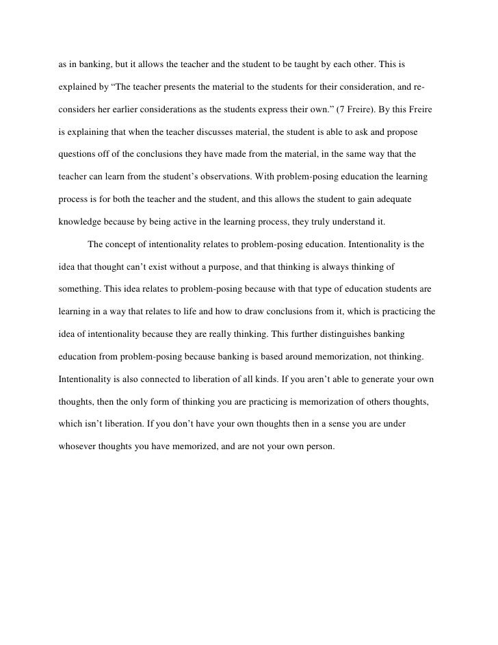 what thesis statement banking concept education by