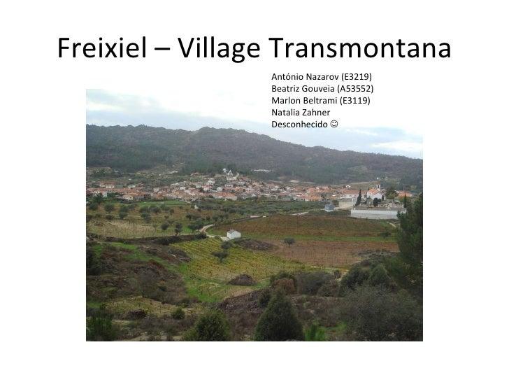 Freixiel – Village Transmontana António Nazarov (E3219) Beatriz Gouveia (A53552) Marlon Beltrami (E3119) Natalia Zahner  D...