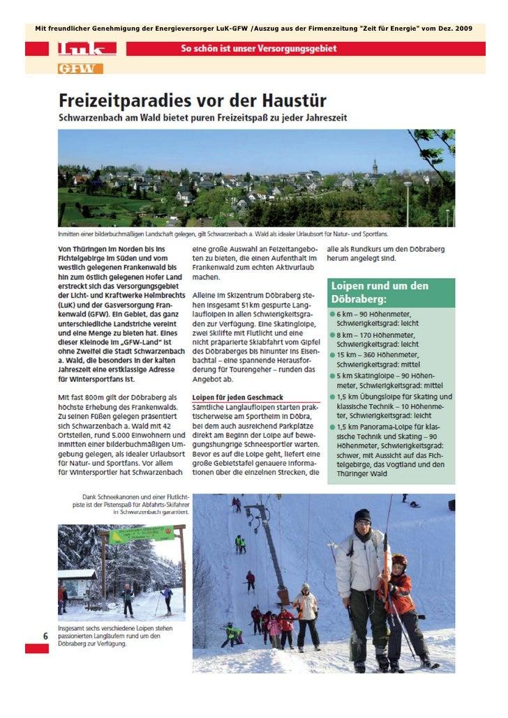 """Mit freundlicher Genehmigung der Energieversorger LuK-GFW /Auszug aus der Firmenzeitung """"Zeit für Energie"""" vom Dez. 2009"""