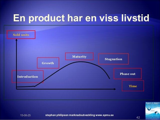 stephan philipson marknadsutveckling www.spmu.se 42 En product har en viss livstid Stagnation Growth Introduction Phase ou...