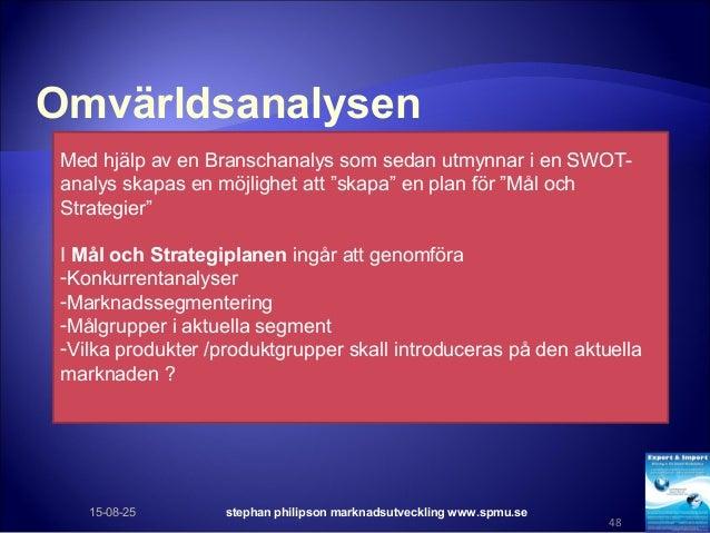 Omvärldsanalysen 15-08-25 stephan philipson marknadsutveckling www.spmu.se 48 Med hjälp av en Branschanalys som sedan utmy...