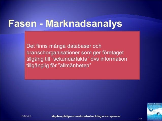 Fasen - Marknadsanalys 15-08-25 stephan philipson marknadsutveckling www.spmu.se 49 Det finns många databaser och branscho...