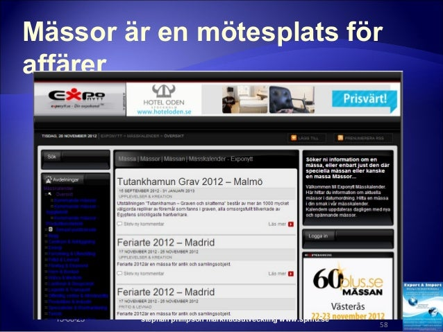 Mässor är en mötesplats för affärer 15-08-25 stephan philipson marknadsutveckling www.spmu.se 58