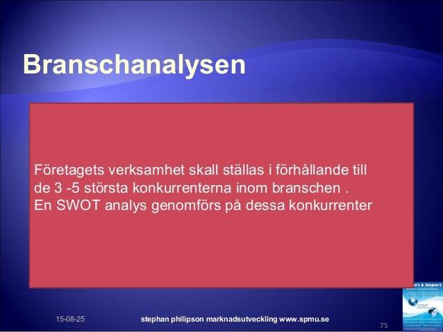 Branschanalysen 15-08-25 stephan philipson marknadsutveckling www.spmu.se 75 Företagets verksamhet skall ställas i förhåll...