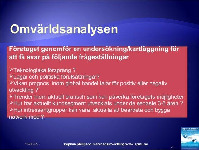 Omvärldsanalysen 15-08-25 stephan philipson marknadsutveckling www.spmu.se 76 Företaget genomför en undersökning/kartläggn...