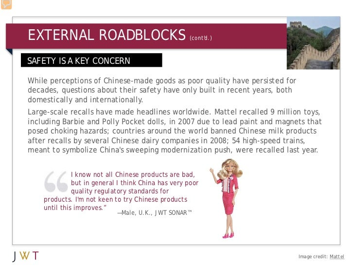 EXTERNAL ROADBLOCKS                                 (contd.)SAFETY IS A KEY CONCERNWhile perceptions of Chinese-made goods...