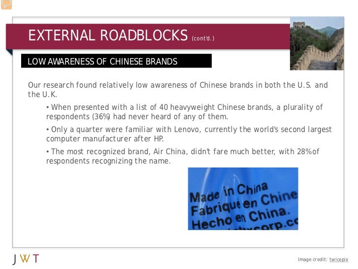 EXTERNAL ROADBLOCKS                         (contd.)LOW AWARENESS OF CHINESE BRANDSOur research found relatively low aware...