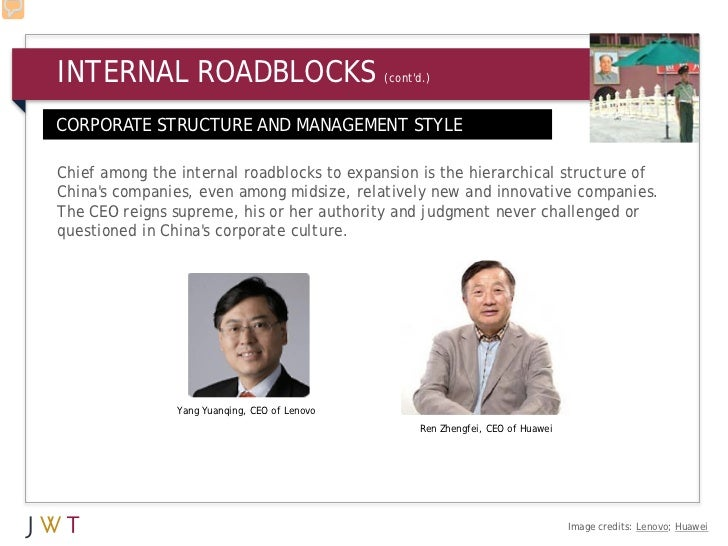 INTERNAL ROADBLOCKS                            (contd.)CORPORATE STRUCTURE AND MANAGEMENT STYLEChief among the internal ro...