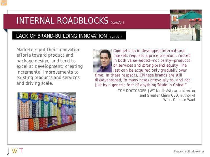 INTERNAL ROADBLOCKS                      (contd.)LACK OF BRAND-BUILDING INNOVATION       (contd.)Marketers put their innov...