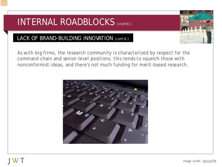INTERNAL ROADBLOCKS                         (contd.)LACK OF BRAND-BUILDING INNOVATION          (contd.)As with big firms, ...