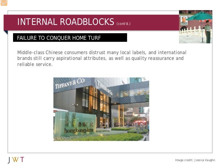 INTERNAL ROADBLOCKS                          (contd.)FAILURE TO CONQUER HOME TURFMiddle-class Chinese consumers distrust m...