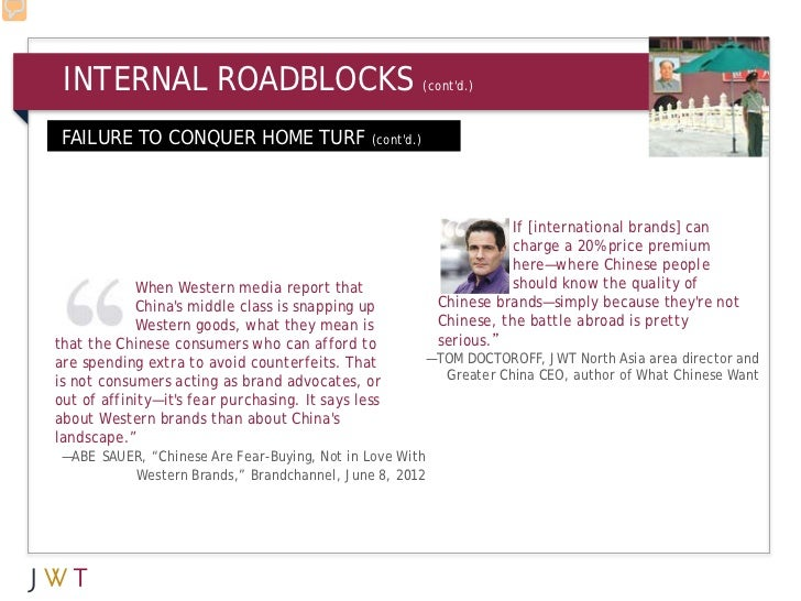 INTERNAL ROADBLOCKS                                        (contd.) FAILURE TO CONQUER HOME TURF                   (contd....