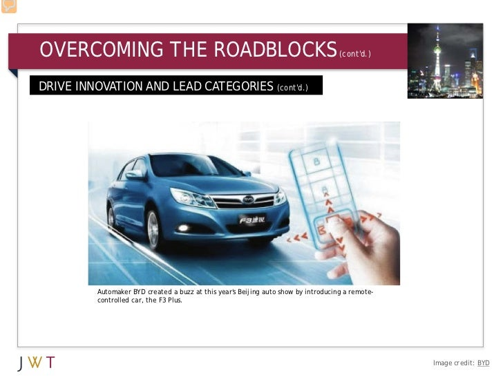 OVERCOMING THE ROADBLOCKS                                                          (contd.)DRIVE INNOVATION AND LEAD CATEG...