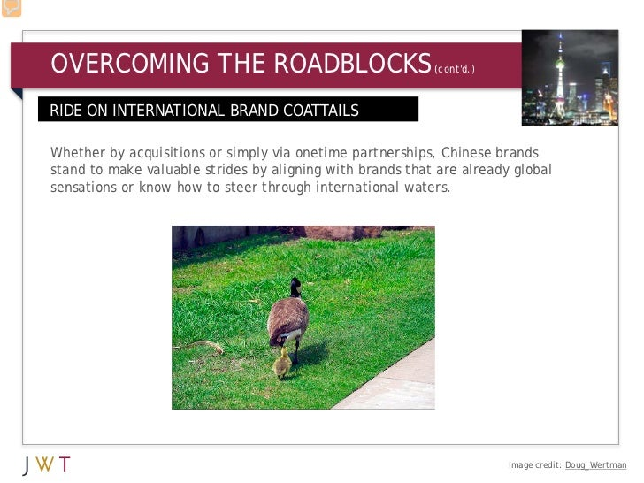 OVERCOMING THE ROADBLOCKS                                  (contd.)RIDE ON INTERNATIONAL BRAND COATTAILS9Whether by acquis...