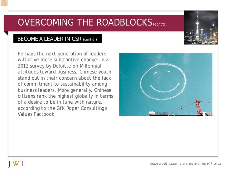 OVERCOMING THE ROADBLOCKS                       (contd.)BECOME A LEADER IN CSR (contd.)Perhaps the next generation of lead...