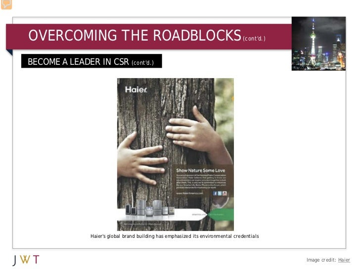 OVERCOMING THE ROADBLOCKS                                                         (contd.)BECOME A LEADER IN CSR (contd.) ...