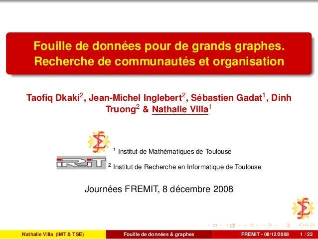 Fouille de données pour de grands graphes. Recherche de communautés et organisation Taofiq Dkaki2 , Jean-Michel Inglebert2 ...