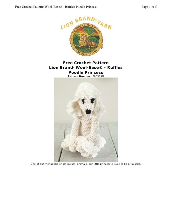 Free Crochet Pattern: Wool-Ease® - Ruffles Poodle Princess                                           Page 1 of 5          ...