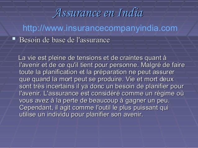 Assurance en India Slide 3