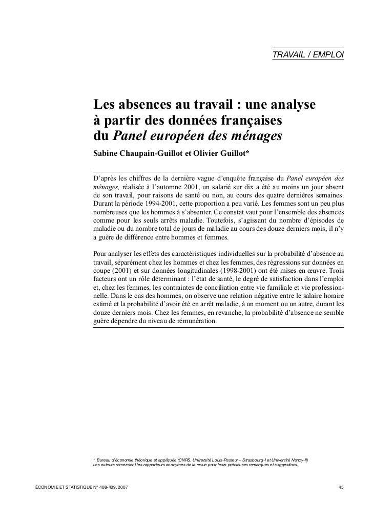 TRAVAIL / EMPLOI                         Les absences au travail : une analyse                         à partir des donnée...