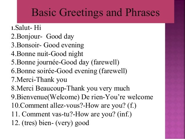 The french language greetings and phrases 5 m4hsunfo