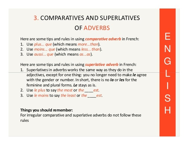French Comparatives And Superlatives