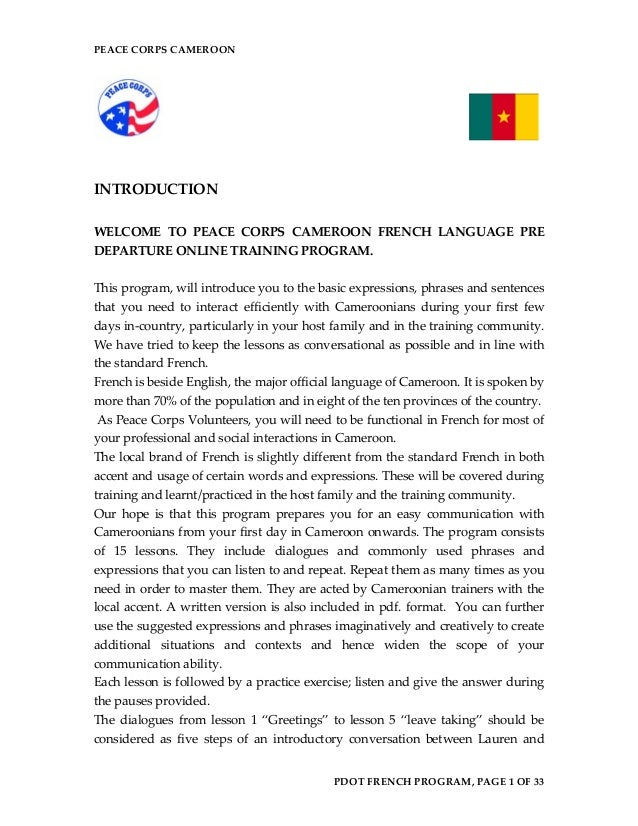 PEACE CORPS CAMEROON  INTRODUCTION  WELCOME TO PEACE CORPS CAMEROON FRENCH LANGUAGE PRE DEPARTURE ONLINE TRAINING PROGRAM....