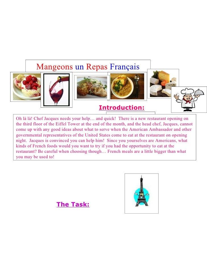 Mangeons un Repas Français                                            Introduction:                                       ...