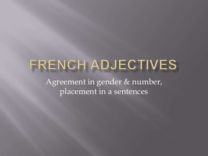 Agreement in gender & number,   placement in a sentences